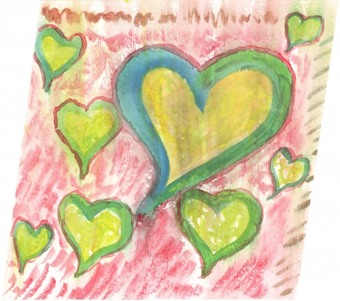 Watercolor of heart painted by Kevin Warnock, 2008.