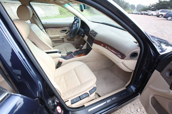 Interior of Kevin's BMW from passenger door