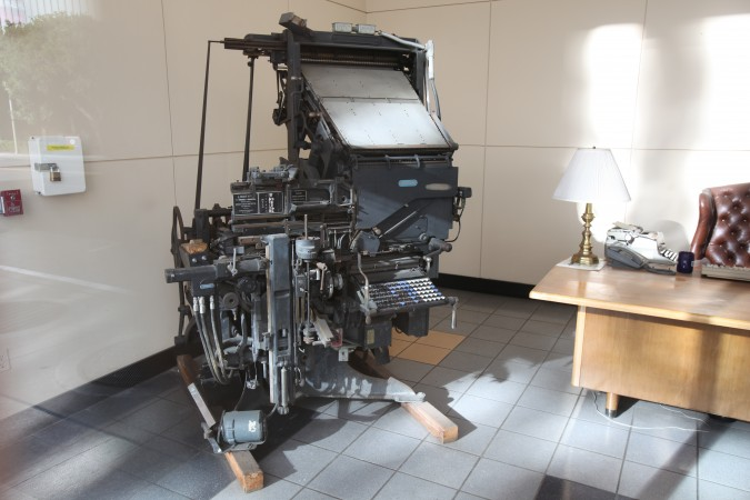 Old LinoType typesetter, in the lobby of the San Francisco Chronicle newspaper, 5th Street, San Francisco, California, December 6, 2010