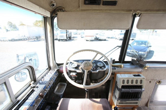 1967 MCI 5A Challenger, view from driver's seat looking forward