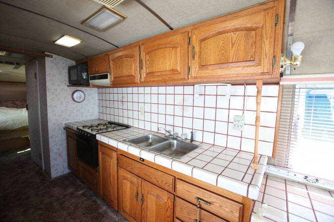 Kitchen area of 1967 MCI 5a Challenger bus conversion