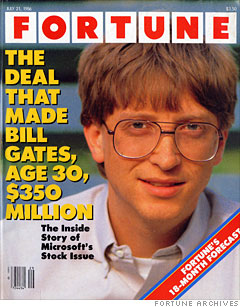 Fortune Magazine cover from 1986 featuring Microsoft IPO