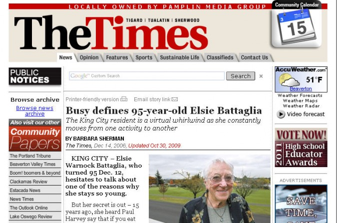 Elsie Battaglia in The Times, December 14, 2006