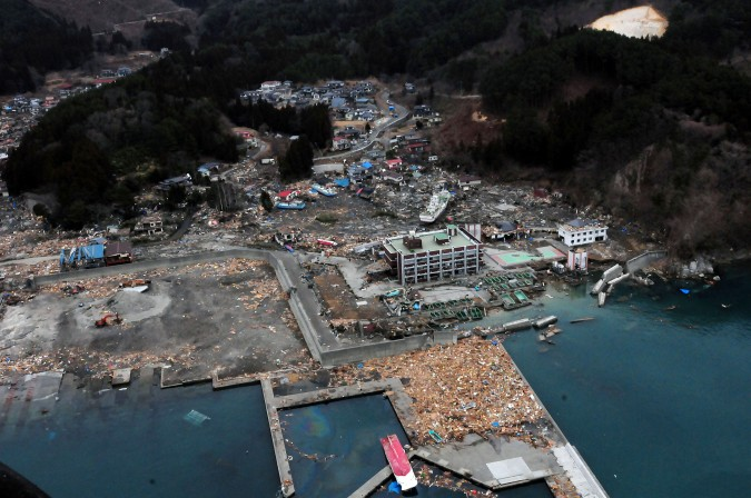 Aerial view of damage to Wakuya, Japan following earthquake