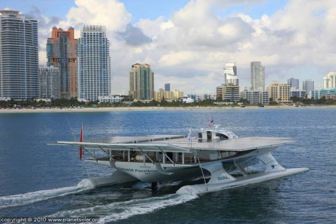 Planet Solar boat in Miami, Florida, USA
