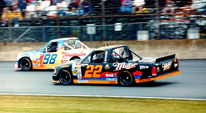 nascar pickup trucks covered in sponsorship ads