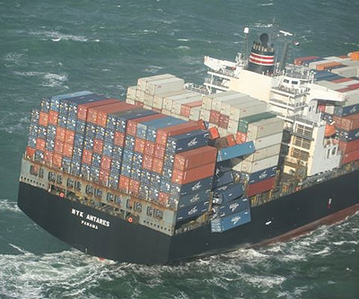 container ship with container falling off