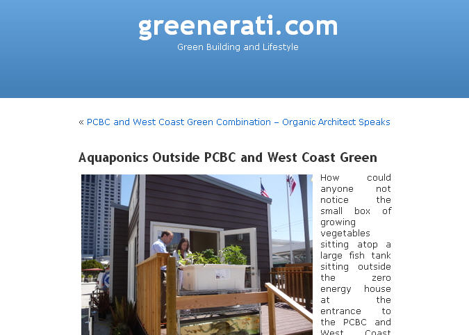 Greenerati.com blog post about aquaponics at PCBC June 22-24, 2011
