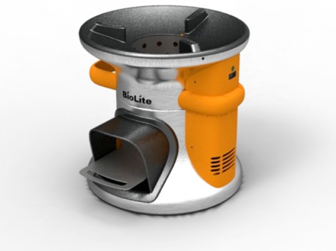 BioLite stove that cooks food and charges a cell phone (photo from BioLiteStove.com)