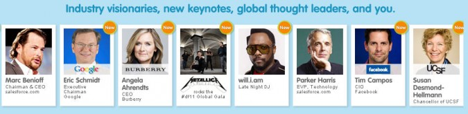 Partial list of DreamForce '11 speakers (image from DreamForce.com)