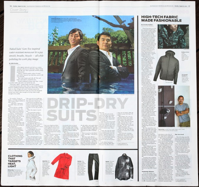 Naked Suits in August 21, 2011 San Francisco Chronicle Style section, pages 6 & 7