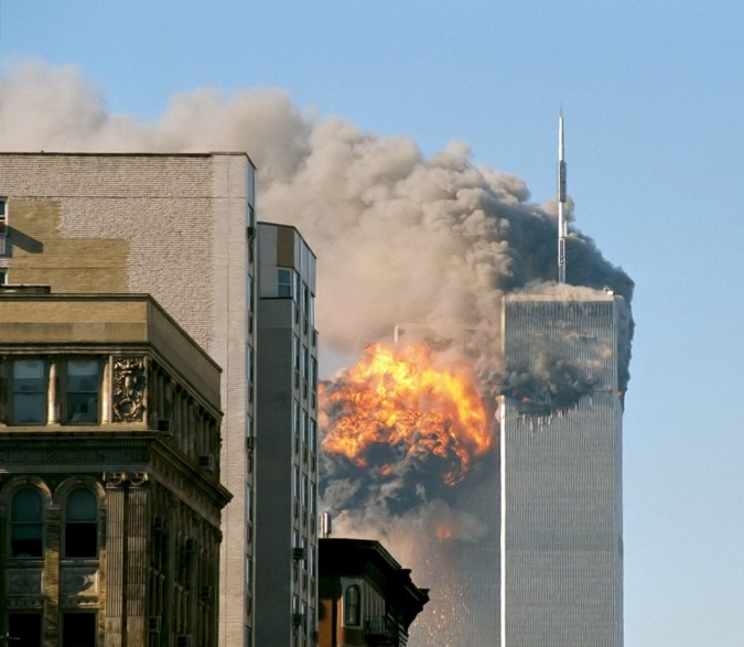United flight 175 hits World Trade Center, September 11, 2001 (photo by Flickr user themachinestops)