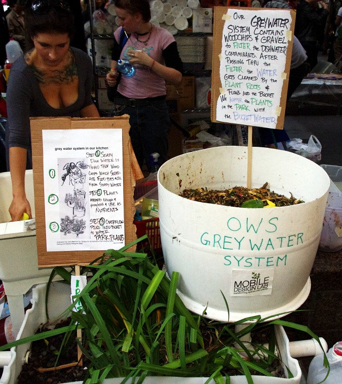 Occupy Wall Street greywater system. Photograph taken October 6, 2011 by Flickr.com user david_shankbone.