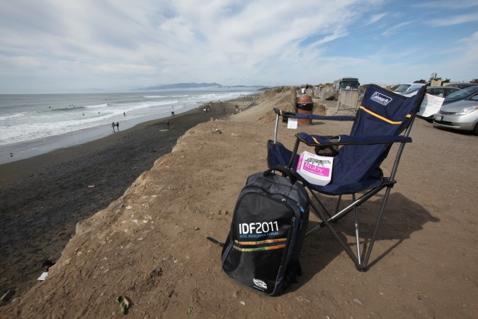 Kevin Warnock's 'office' at Ocean Beach, San Francisco, California USA October 2, 2011