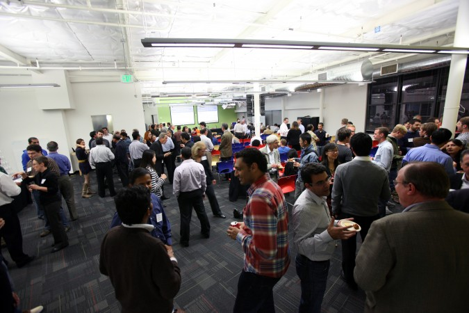 Networking hour at Berkeley Entrepreneurs Forum held at Google, Inc., October 27, 2011