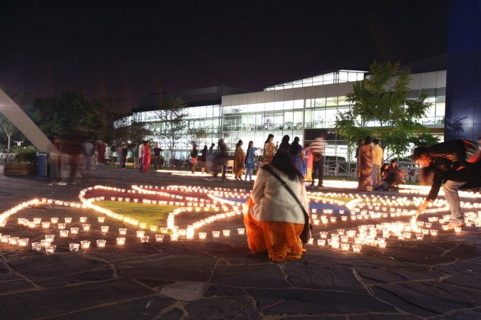 Diwali Festival of Lights with 6,000 candles at Google, Inc. headquarters in Mountain View, California, October 27, 2011. Photograph by Kevin Warnock.