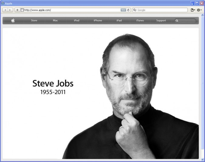 Apple, Inc. home page October 5, 2011, the day Steve Jobs died