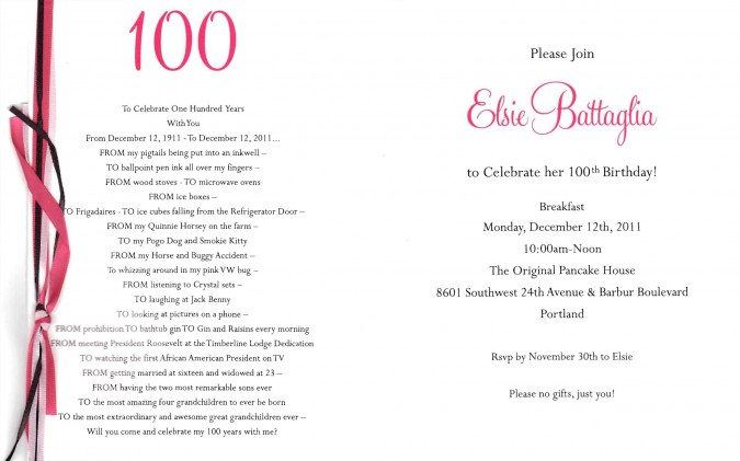 Elsie Battagla 100th birthday party invitation