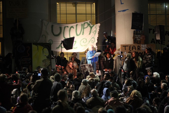 Board member of the Mario Savio Lecture Fund addressing Occupy Cal protesters November 15, 2011 at Sproul Plaza