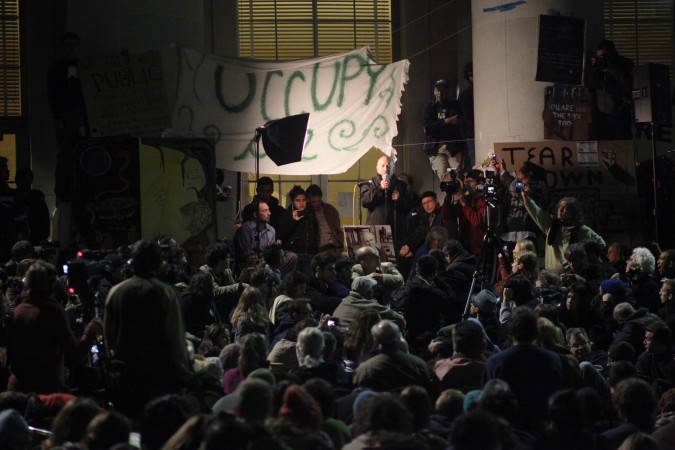 Robert Reich speaking at Occupy Cal protest, November 15, 2011