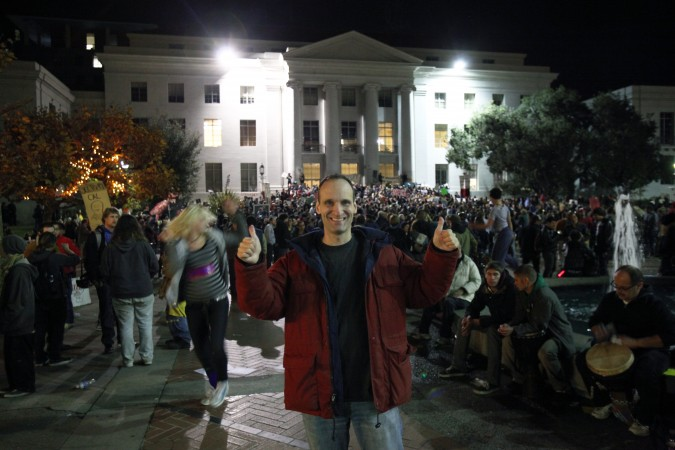 Kevin Warnock at Occupy Cal following Robert Reich speech at UC Berkeley, November 15, 2011