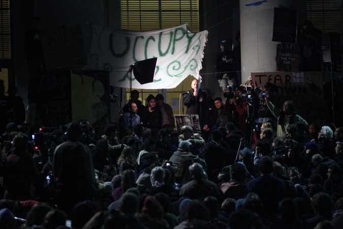 Robert Reich delivering speech 'Class Warfare in America' on Sproul Hall steps at UC Berkeley during Occupy CAL protest on November 15, 2011