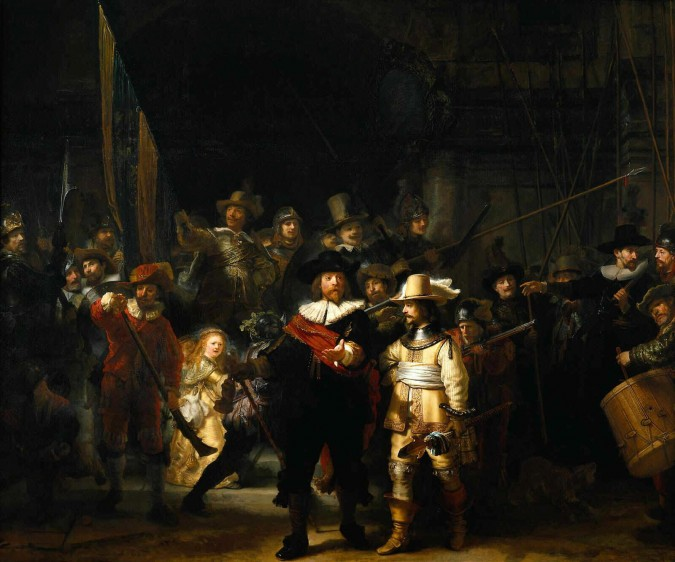 Rembrandt's Night Watch painting housed at the Rijksmuseum in Amsterdam, The Netherlands