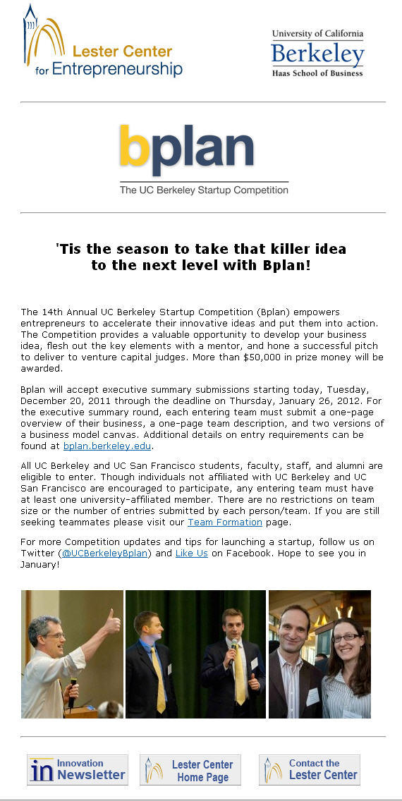 University of California, Berkeley Startup Competition announcement email December 20, 2011