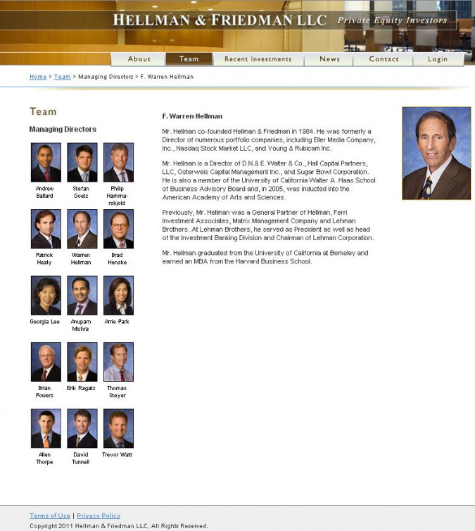 Hellman and Friedman LLC website biography of Warren Hellman. Image from hf.com.