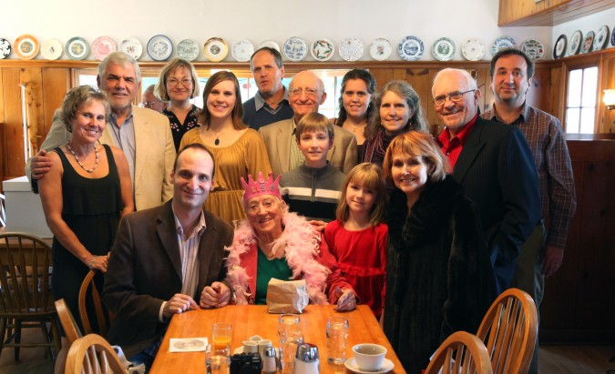 Elsie Battaglia's 100th birthday party at The Original Pancake House, 8601 SW 24th Avenue, Portland, Oregon, USA, December 12, 2011