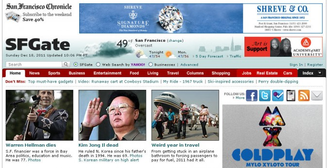 Warren Hellman dies at age 77. This is a screen shot from the front page of the San Francisco Chronicle website sfgate.com on December 18, 2011.