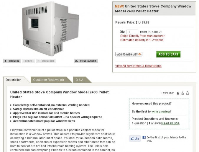 Window mount pellet stove, as seen at cabelas.com.