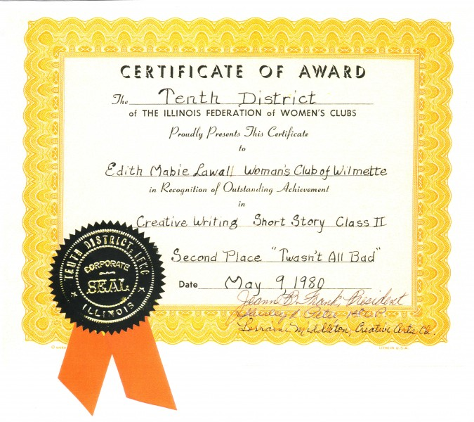 Edith Lawall certificate of award May 9 1980