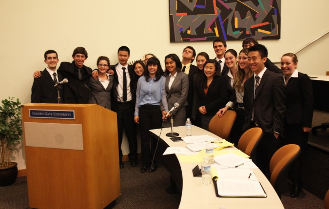 Mock Trial finalist teams gather for a group shot after their trial on February 23, 2012. The competing teams were from Lowell High School and School of the Arts. Photo includes: Marcus Wong, Negative Nancy, Havel Weidner, Malia Bow, Nico Scoliere, Cristina Rey,Elizabeth Levinson, Lena Gankin and others.