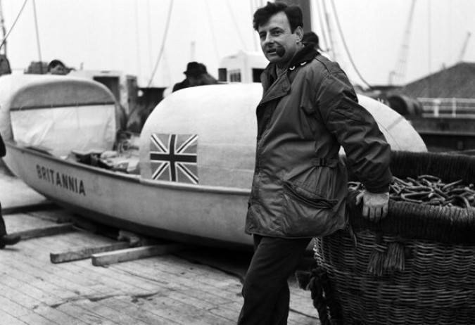 John Fairfax with his Brittania row boat that he crossed the Atlantic Ocean in by himself in 1969. Fairfax was the first known person to accomplish this feat. He died February 8, 2012.
