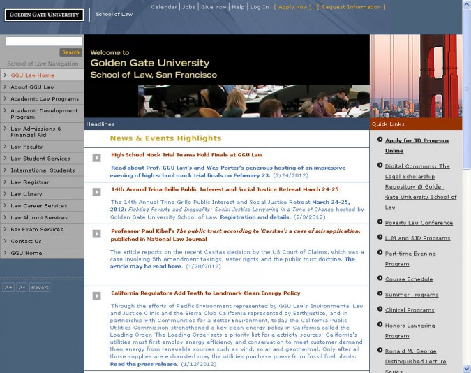 Front page of the law school website for Golden Gate University, February 25, 2012. The first link under News & Events links to KevinWarnock.com.