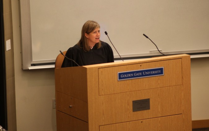 The judge for the San Francisco Mock Trial 2012 finals, February 23, 2012, Golden Gate University.