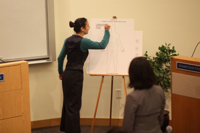Student playing witness demonstrates to Cristina Rey playing attorney for the prosecution how victim was stabbed to death. Mock Trials final in San Francisco, February 23, 2012.