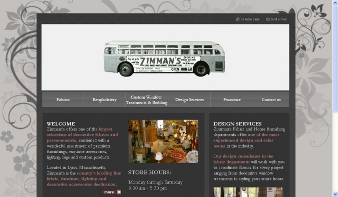 Zimman's home page with bus. Graphic from http://zimmans.com