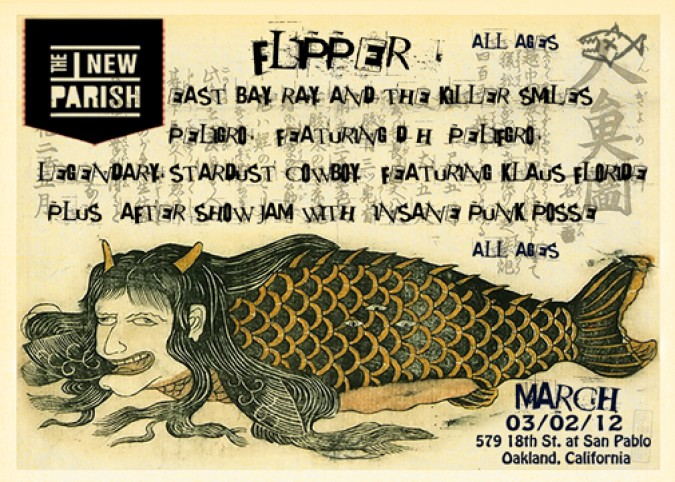 Promotional graphic for concert by the band named Flipper, playing March 2, 2012 at The New Parish