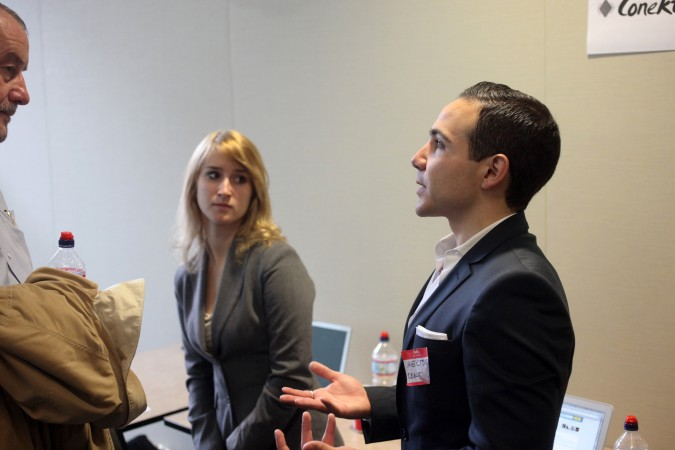 Cristina Randall and Hector Cardenas at Mexican VC Demo Day, March 16, 2012