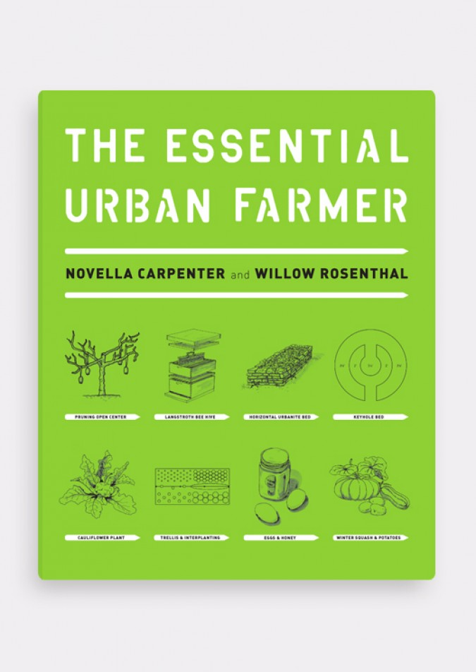 The Essential Urban Farmer book cover, designed by Janet Hansen. Photograph from janet-hansen.com.