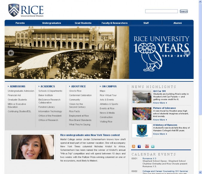 Jordan Schermerhorn on the front page of the Rice University website, March 15, 2012