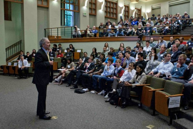Haas School of Business Dean Richard Lyons speaks at the Berkeley Startup Competition Finals, April 26, 2012. Photograph by Bruce Cook.