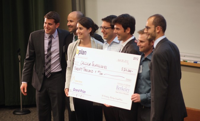 Grand Prize winner Calcula Technologies at the Berkeley Startup Competition, April 26, 2012. Left to right: Nick Mascioli (co-chair of the Competition), Adam Sterling (co-chair of the Competition), Kate Garrett, Dan Azagury, David Gal, Buzz Bonneau, Tom VanLangen (co-chair of the Competition)
