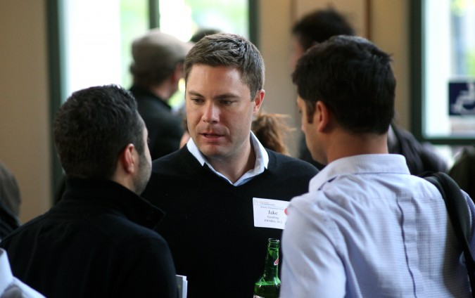 Jake Gentling at the networking hour prior to attending the Berkeley Startup Competition Finals, April 26, 2012