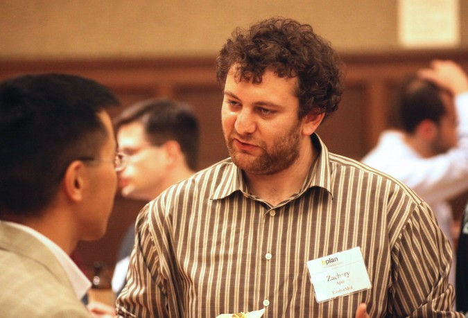 Zachary Apte of EvolveMol, April 24, 2012. Apte is at the Berkeley Startup Competition finalists announcement reception.