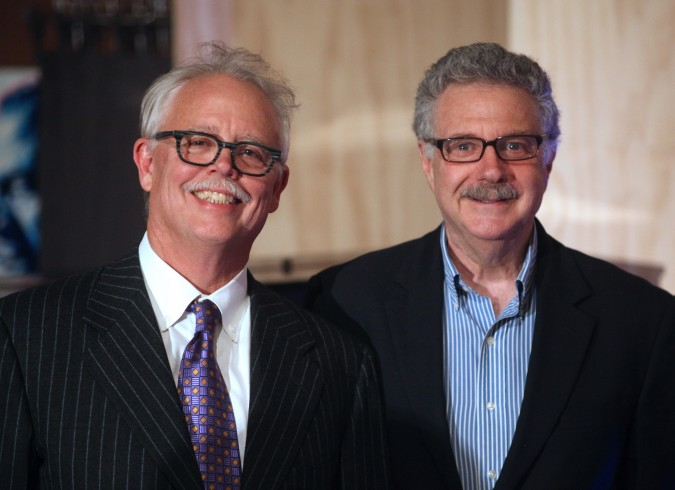 David Bunnell and Larry Magid, May 18, 2012 at Andrew Fluegelman Foundation Fellowship Awards Gala in San Leandro, California. Photo by Kevin Warnock.