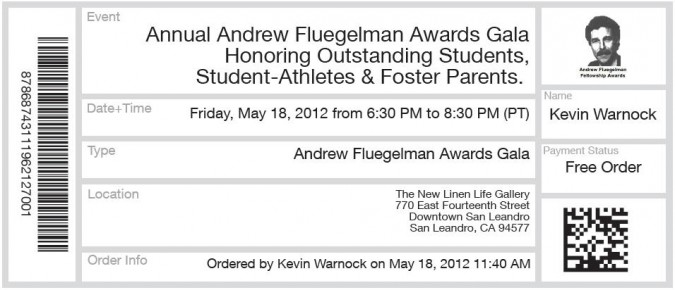 EventBrite.com electronic ticket to Andrew Fluegelman Awards Gala, May 18, 2012
