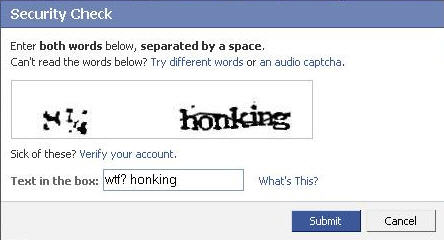 Facebook Captcha (from Flickr user Chance Abbatoir)